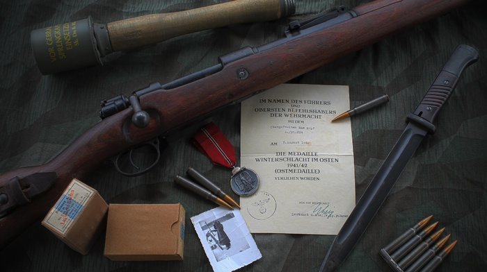 Mauser Kar98k, World War II, Bolt action rifle, mauser, gun, grenades, knife