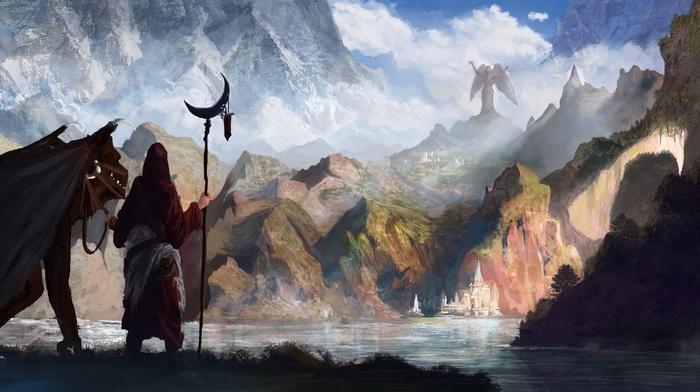 mountain, statue, fantasy art, artwork, angel, dragon