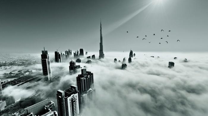 flying, landscape, Dubai, monochrome, mist, architecture, United Arab Emirates, birds, skyscraper, sun rays