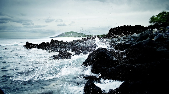rock, clouds, sea, water, overcast, waves, nature, water drops
