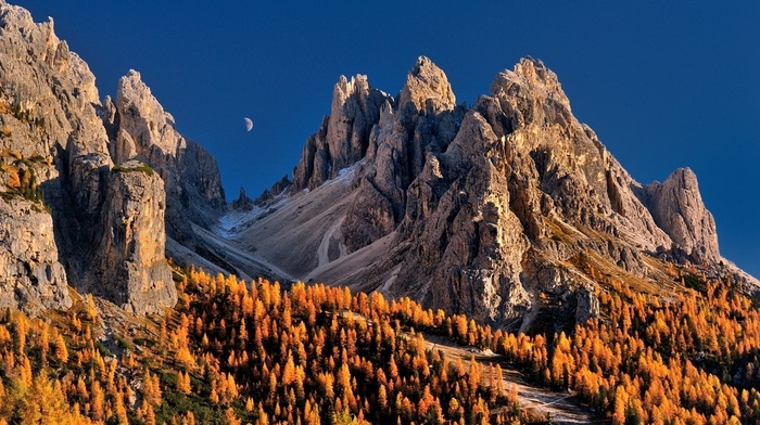 Dolomites mountains, Italy, fall, trees, mountain, sky, moon, nature, landscape, blue, forest
