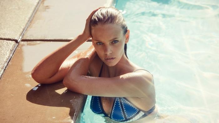 swimming pool, Marloes Horst, swimming, wet hair, bikini, girl, looking at viewer, blonde, blue eyes, wet body