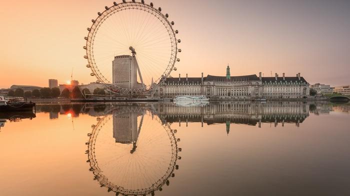 water, England, ferris wheel, architecture, London, sea, river, sunset, reflection, River Thames, city, london eye