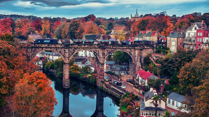 fall, city, architecture, red leaves, trees, reflection, bridge, Knaresborough, river, England, train