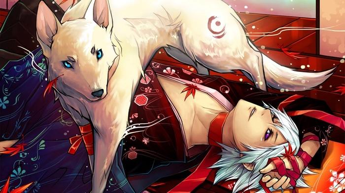 animals, blue eyes, artwork, red leaves, men, wolf, leaves, kimono, lying down