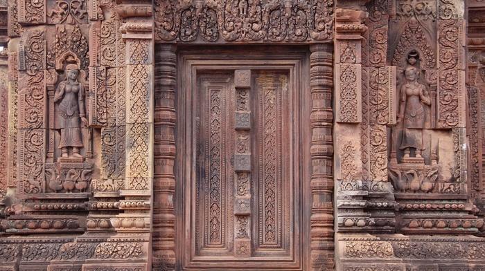 temple, Cambodia, decorations, sculpture, Hinduism, Shiva, door, religion, statue, girl, architecture, stone, Asian architecture