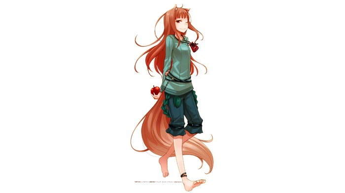 anime, kitsunemimi, long hair, tail, wolf girls, apples, Holo, smiling, Spice and Wolf