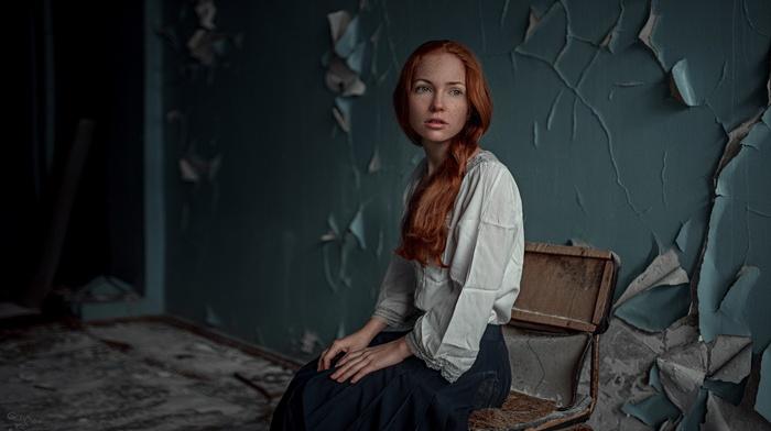 chair, girl, freckles, blue eyes, redhead, ruin, model, Georgiy Chernyadyev, sitting, skirt