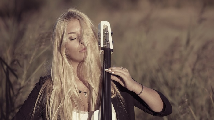 closed eyes, nature, model, blonde, music, hair in face, girl outdoors, long hair, girl, depth of field, playing, field, contrabass