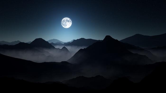 mist, moon, moonlight, nature, mountain, landscape, starry night, dark