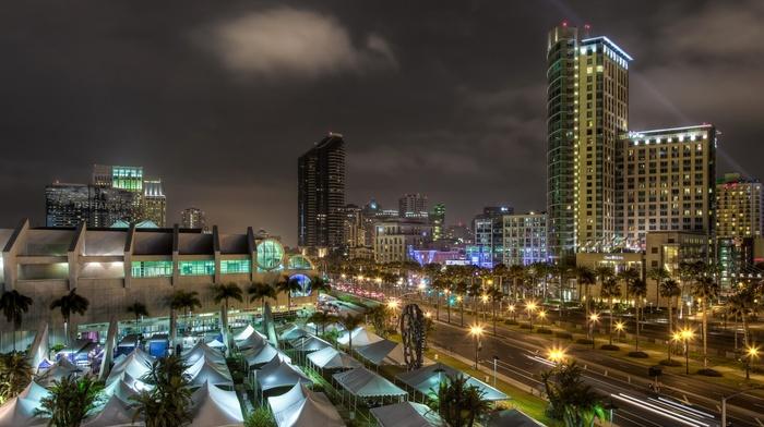 tents, city, San Diego, light trails, palm trees, sculpture, lights, modern, building, street, long exposure, cityscape, night, clouds, skyscraper, california, architecture, USA, landscape