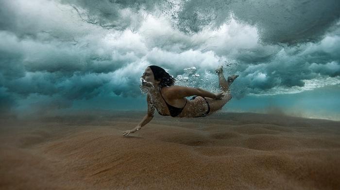 sea, black bikinis, water, bubbles, bikini, brunette, underwater, girl, swimming