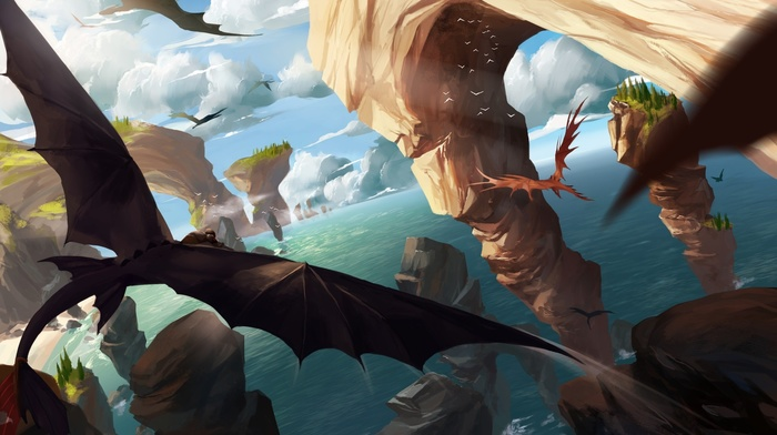 fantasy art, How to Train Your Dragon 2, How to Train Your Dragon, dragon, artwork