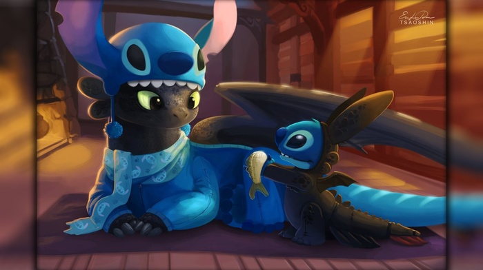 Toothless, dragon, Lilo and Stitch, Stitch, How to Train Your Dragon