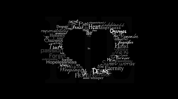 typography, quote, word clouds, black background, hearts