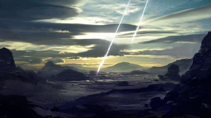 asteroid, landscape, Sun, artwork, fantasy art