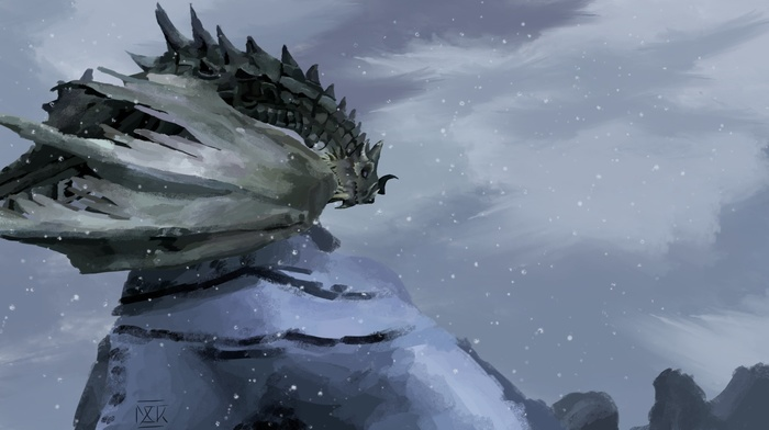 dragon, artwork, snow, fantasy art, winter, The Elder Scrolls, the elder scrolls v skyrim