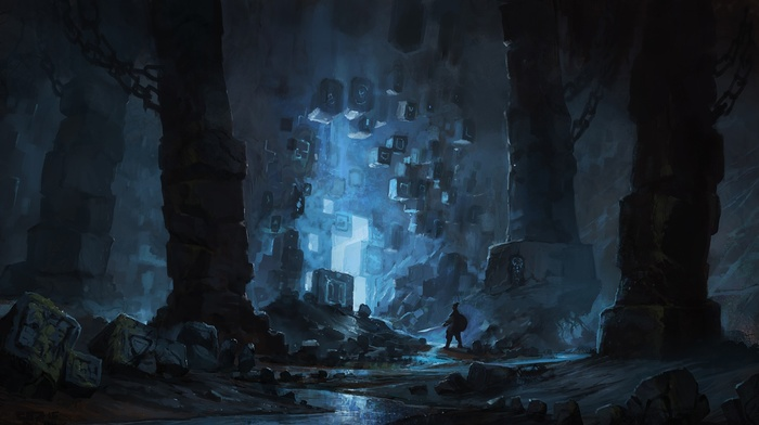 cave, science fiction, blue, fantasy art