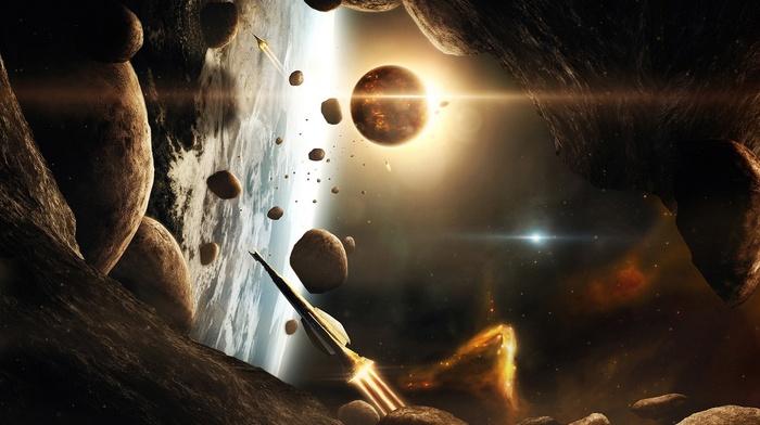 stars, 3D, atmosphere, CGI, universe, glowing, render, rock, asteroid, spaceship, galaxy, space, digital art, planet, rockets