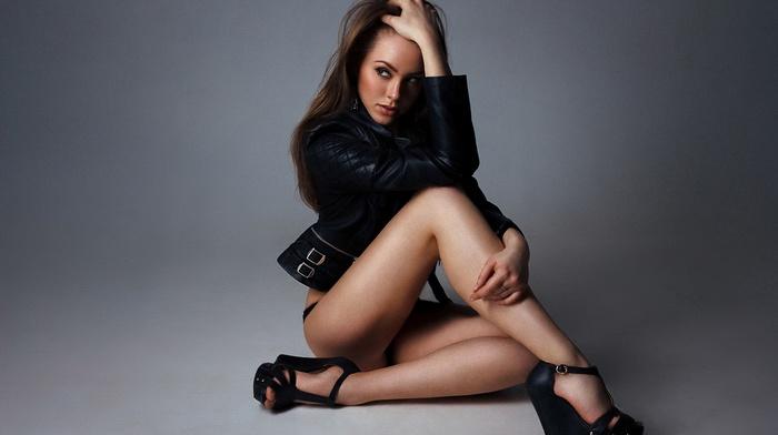 model, brunette, wedge shoes, leather jackets, black panties, girl