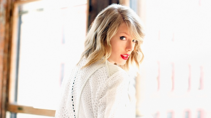 window, face, open mouth, Taylor Swift, long hair, sunlight, red lipstick, portrait, blonde, singer, girl, musicians, white clothing, looking at viewer