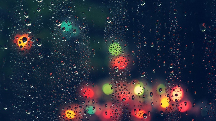 water drops, water on glass, night, depth of field, transparency, blurred, rain, lights, glass, bokeh