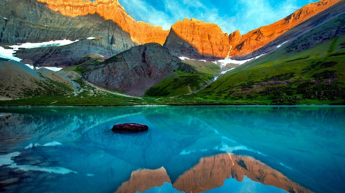 Glacier National Park, Montana, mountain, snow, water, lake, reflection, sunset, turquoise, landscape, grass, nature