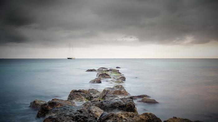 nature, ship, boat, water, sea, long exposure, rock, sailing ship