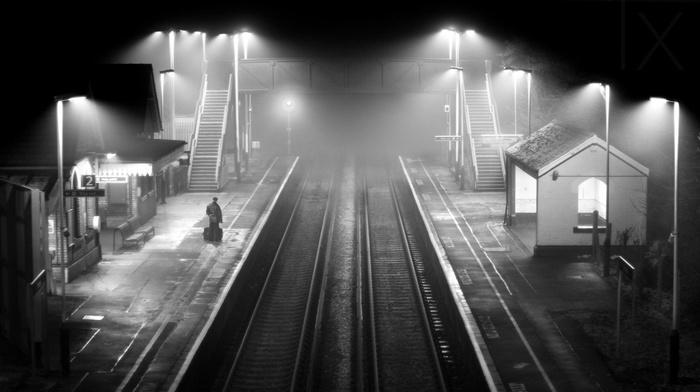 monochrome, architecture, lights, railway, alone, mist, night, landscape, train station
