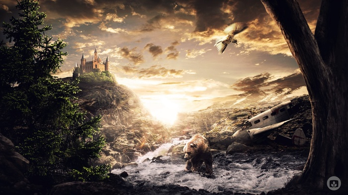 tower, sunlight, mountain, stream, pine trees, digital art, rock, wreck, bears, airplane, Desktopography, animals, trees, nature, clouds, water, birds, castle