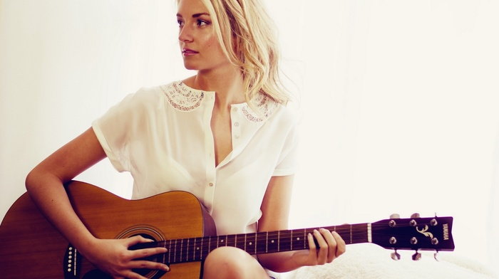 white clothing, musical instrument, shirt, music, white, guitar, girl, blonde