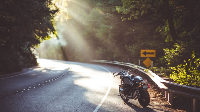 highway, sun rays, motorcycle, bmw nineT