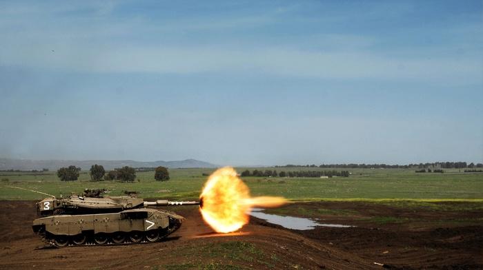 weapon, Merkava, military, fire, tank, shooting, explosion