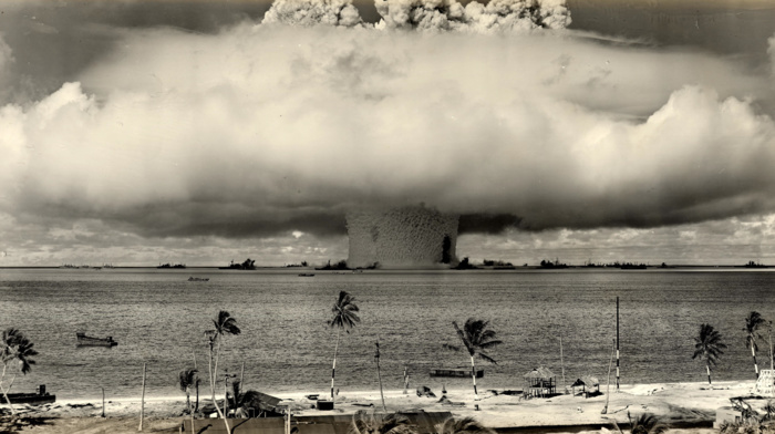 palm trees, nuclear, explosion, military