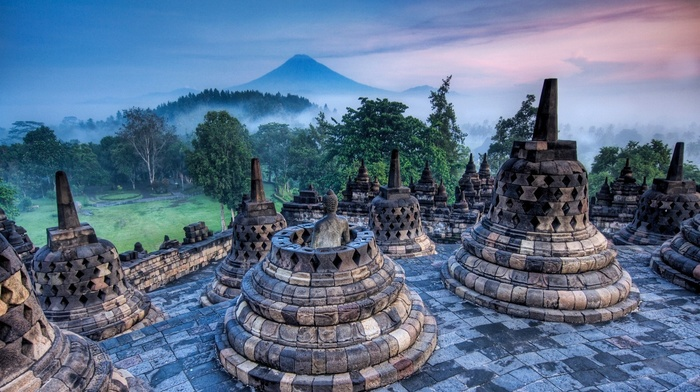 grass, mist, buddhism, trees, nature, sunrise, Indonesia, volcano, temple, mountain, landscape