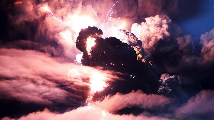 lightning, volcano, storm
