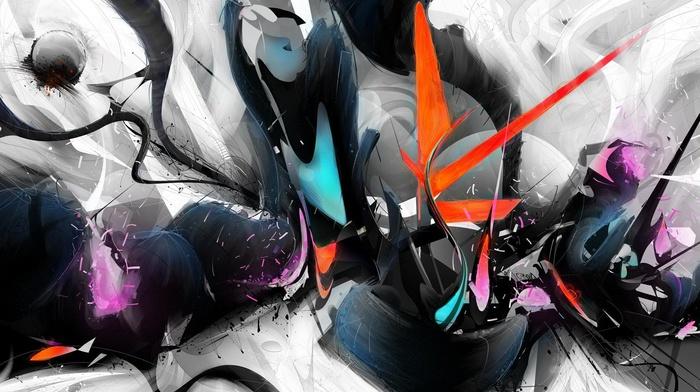 digital art, paint splatter, colorful