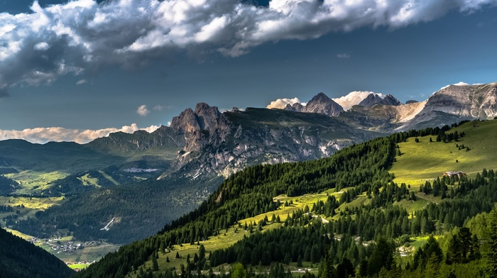 landscape, clouds, village, valley, forest, grass, Alps, nature, Italy, Dolomites mountains, summer