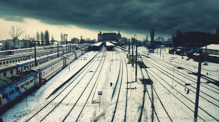 snow, railway, Istanbul, train, rail yard, winter, Turkey