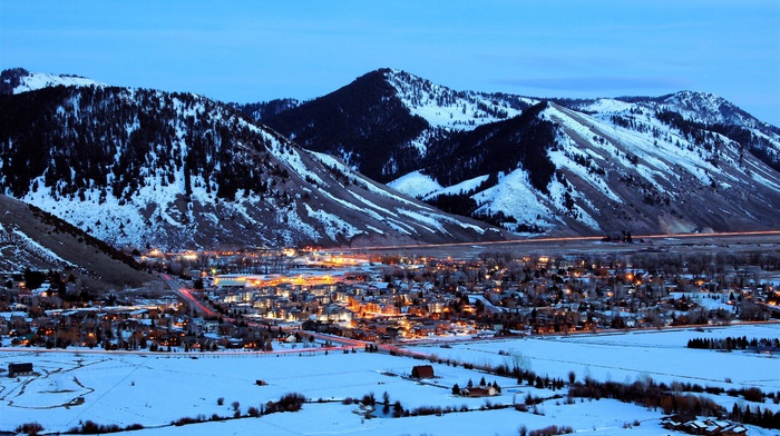 town, wyoming, snow, winter, mountain, Jackson