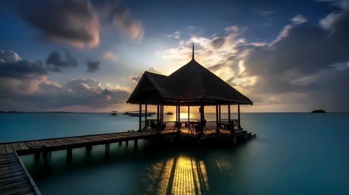 dock, sunset, pier, sea, resort