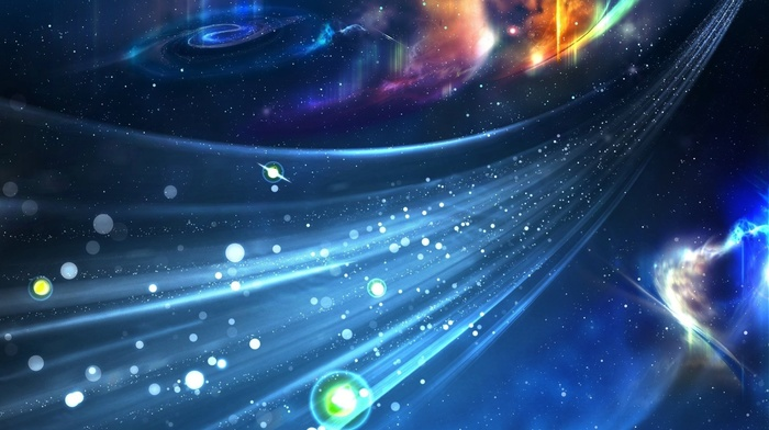 dots, stars, digital art, CGI, abstract, space, glowing, galaxy, universe, render