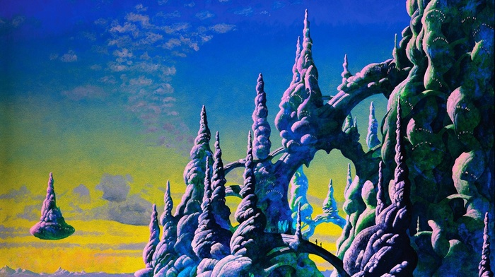 clouds, sky, painting, roger dean, floating island, people, fantasy art, silhouette, rock, artwork, bridge