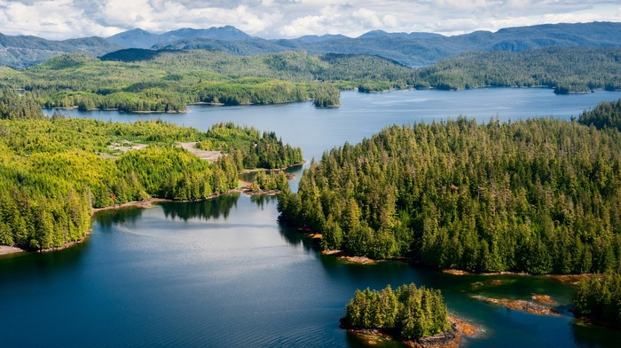 spring, landscape, mountain, lake, Alaska, island, nature, trees, clouds, aerial view, blue, forest, water