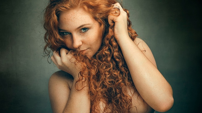 Women Redheads Blue Background Aznude 1