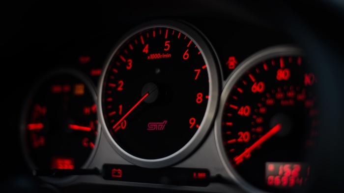 electronics, Subaru WRX STI, car, speedometer, instrument panel, Subaru