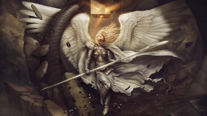 hery, cape, girl, armor, spear, angel, artwork, wings, fantasy art