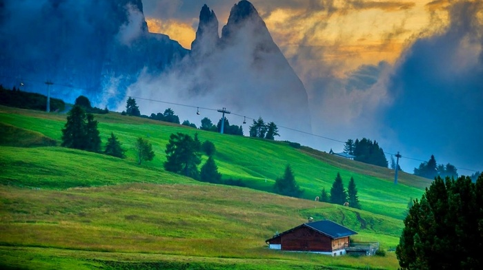 nature, landscape, sunset, sky, trees, clouds, grass, cabin, Italy, Dolomites mountains