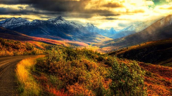 Canada, nature, sky, mountain, snowy peak, grass, landscape, panoramas, sunrise, dirt road, shrubs, clouds
