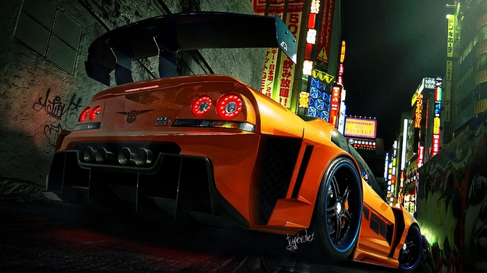 Nissan GTR R33, tuning, vehicle, car